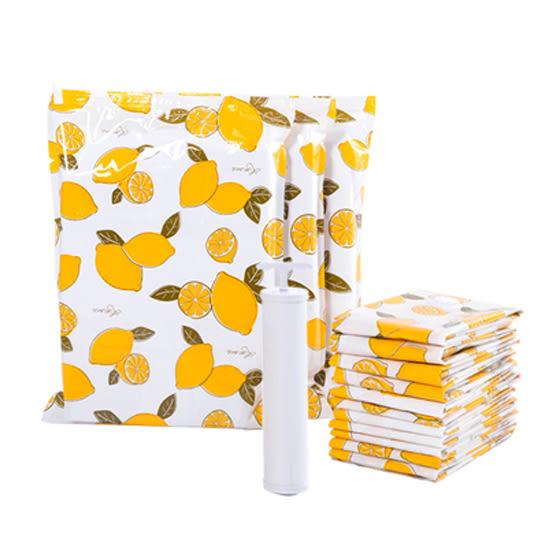 檸檬印花真空壓縮袋11件套裝(含抽氣筒) 特大   大號 中號 小號 手捲壓縮包 【Z76-1】♚MY COLOR♚