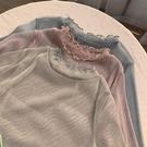 促銷全場九五折 大碼胖mm早秋透視網紗打底衫薄款心機設計感韓版200斤t恤長袖上衣