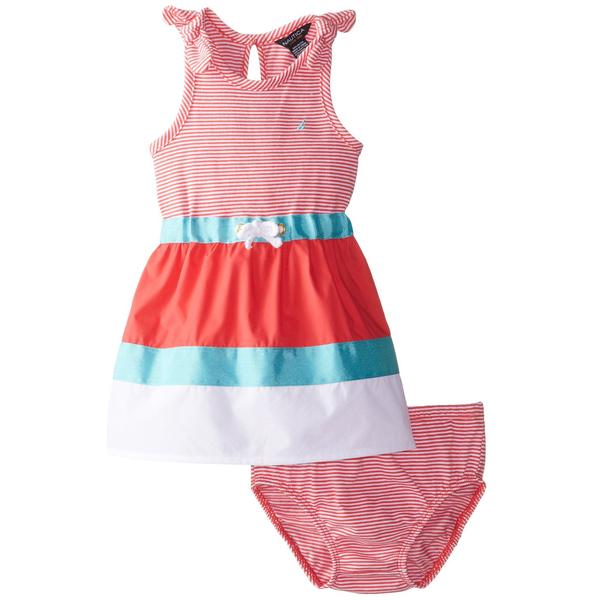 【北投之家】女寶寶洋裝二件組 無袖背心裙+內褲 玫瑰珊瑚   Nautica童裝 (嬰幼兒/兒童/小孩)