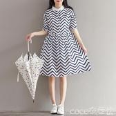 棉麻裙2020夏季大碼女裝文藝復古棉麻條紋波浪短袖連身裙襯衫裙子遮肚  COCO
