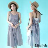 洋裝 顯瘦直條紋後綁帶細肩無袖洋裝 小豬兒 Mini Jule【YYJ8106631B】現貨