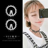 【免運到手價$98】氣質韓國簡約鑲鑽圓環耳環女925銀針創意時尚V字圓圈耳釘耳環