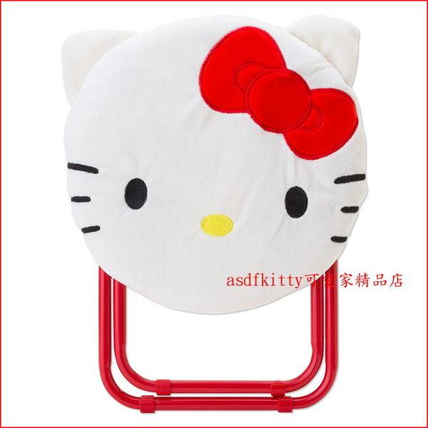 asdfkitty可愛家☆KITTY大臉折疊椅/收納椅-鋼管椅腳可折收-布套可拆洗-日本正版商品