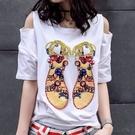 T恤 寬鬆夏季新款露肩短袖 洋氣性感白色t恤女裝半袖一字漏肩上衣