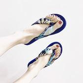 波西米亞絲綢緞面花朵人字拖女夏 度假沙灘防滑坡跟厚底夾腳拖鞋