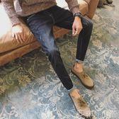 牛仔褲 彈力牛仔褲韓版潮流修身小腳男生男士直筒褲子冬季加絨加厚   非凡小鋪