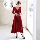 中大尺碼洋裝 L-5XL V領長袖絲絨顯瘦洋裝 紅色 #wm1103 @卡樂@