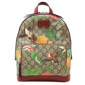 GUCCI 古馳 Tian系列花鳥印花風格GG帆布PVC雙肩包 Backpack 427042【BRAND OFF】