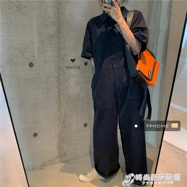 PPHOME韓風chic休閒機能感suit~帥氣慵懶男孩寬鬆工裝闊腿連身褲 時尚芭莎