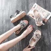 厚底涼鞋 夏季新款韓版百搭學生厚底鬆糕羅馬涼鞋仙女風chic平底涼鞋女