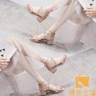 涼鞋女夏中跟網美仙女風氣質粗跟綁帶【慢客生活】