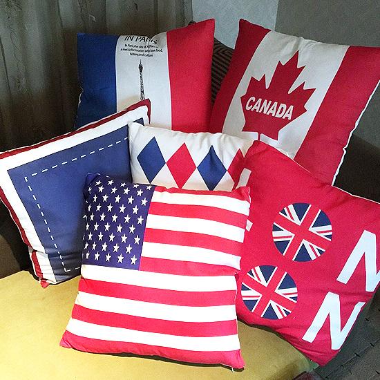 枕套 抱枕 靠枕 方枕 靠墊 沙發 枕墊 可拆洗 國旗風格鹿皮絨枕套(不含枕心)【V42】米菈生活館