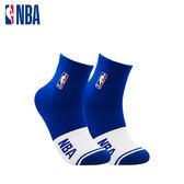 NBA 平版襪 MIT 運動配件 LogoMan色塊刺繡短襪 (藍/白)