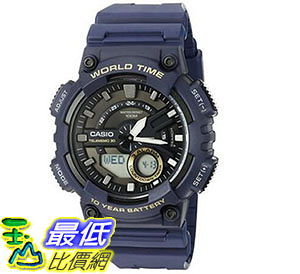 [美國直購] 手錶 Casio Men s Heavy Duty Quartz Resin Automatic Watch, Color: Blue AEQ110W-2AV