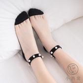 5雙 水晶蕾絲珍珠襪子女短襪淺口棉花邊潮薄款【小酒窩服飾】