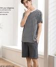 男士睡衣夏季短袖純棉薄款