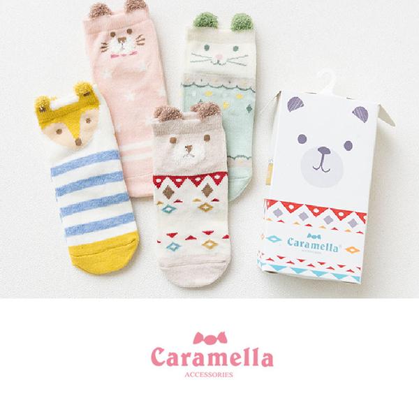 寶寶襪   新生兒襪 學步襪 四入組 【JB0031】日本外貿寶寶盒裝卡通動物公仔襪 居家鞋
