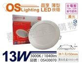 OSRAM歐司朗 LED 晶享 13W 3000K 黃光 全電壓 15cm薄型崁燈 _ OS430070