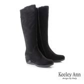 ★2019秋冬★Keeley Ann極簡魅力 暖心冬季雙拉鍊楔型長靴(黑色)