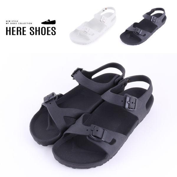 [Here Shoes]涼鞋-MIT台灣製 跟高2.5cm 休閒中性 百搭純色 釦式鞋帶 一字涼拖鞋-AN1003