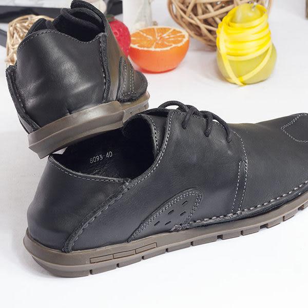 WALKING ZONE 真皮自然剪裁英倫皮革開車鞋綁帶-黑