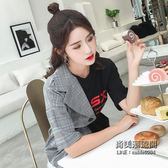 正韓時尚個性假兩件格子連身裙女拼接字母印花不規則T恤裙子 聖誕交換禮物
