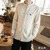 中大尺碼中山裝外套 中國風男裝佛系襯衫秋季復古風襯衣服 nm11019【野之旅】