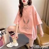 2021新款卡通短袖t恤女韓版寬鬆夏季洋氣中長款百搭上衣大碼女裝 范思蓮恩