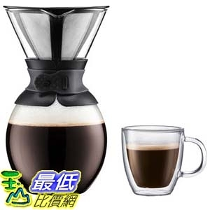 [105美國直購] 咖啡機 Bodum Pour Over Coffee Maker with 4-pc Double Wall Glass Set A1015498