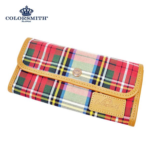 【COLORSMITH】LD・扣式長夾-經典紅格紋・WLLD2054-RH