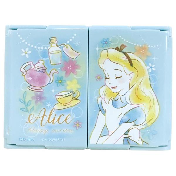 T'S FACTORY 折疊式迷你三面立鏡 放大鏡 迪士尼愛麗絲 真摯如夢系列 水藍_CY10081