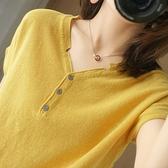 新款全棉針織短袖t恤女夏季純棉寬鬆亞麻棉麻v領休閒打底上衣