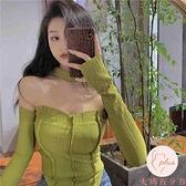 一字肩短袖女露肩修身設計小衫上衣女裝夏內搭【大碼百分百】