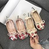 女童鞋子休閒鞋軟底豆豆鞋套腳鞋子【邻家小鎮】