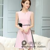 無袖洋裝/春夏新款韓版大碼顯瘦時尚潮流百搭休閒女士連身裙「歐洲站」