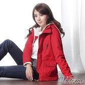 Victoria 真兩件式可愛短版外套-女-紅色