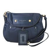 MARC JACOBS 厚織尼龍磁吸釦證件夾翻蓋馬鞍包 斜背包(藍、大款)-M0014625