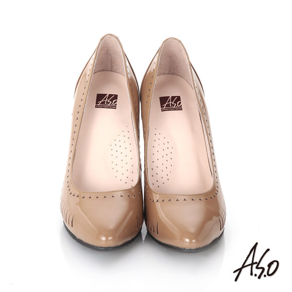 A.S.O 輕透美型 鏡面真皮側鏤空高跟鞋 卡其