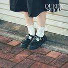 Queen Shop【05090179】釦環設計T字厚底皮鞋 23-25*現+預*