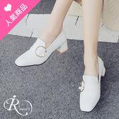歐美時尚OL個性珍珠釦環方頭低跟包鞋/3色35-43碼 (RX0733-18-7) iRurus 路絲時尚