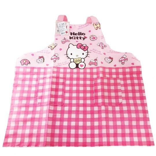 小禮堂 Hello Kitty 綁帶式帆布圍裙 烘培圍裙 工作圍裙 (粉 餅乾) 4710374-18676