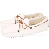 TOD'S Gommino 編織綁帶休閒豆豆鞋(男鞋/米白色) 1440257-20