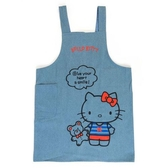 尼德斯Nydus 日本正版 三麗鷗 凱蒂貓 Hello Kitty 廚房 圍裙 丹寧布 附口袋 長度約88cm