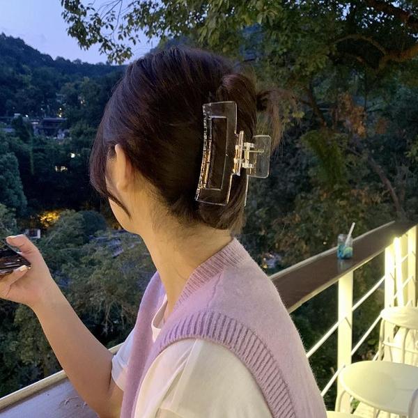 抓夾 韓國ins歐陽娜娜大號米白玳瑁透明色發抓后腦勺隨性抓夾洗澡發夾 城市科技