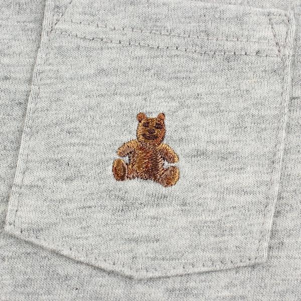 Gap嬰兒 布萊納系列 小熊刺繡短袖連身衣 710486-灰色