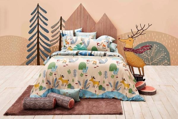 【La mode】100%精梳純棉兩用被雙人床包組_野餐好朋友