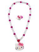 【卡漫城】 Hello Kitty 項鍊 & 戒指 二入組 透明珠 ㊣版 項鏈 小女孩 扮家家酒 兒童 飾品 打扮 戒子