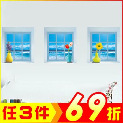 創意壁貼-3D立體仿真窗台花瓶 Z008-1031 (3款入)【AF01013-1031】聖誕節交換禮物 99愛買生活百貨