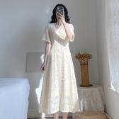 洋裝連身裙S-XL新款V領法式桔梗仙女裙H318-D-6834.1號公館