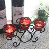 新款歐式燭台擺件燭光晚餐婚慶道具餐桌復古鐵藝玻璃美式蠟燭浪漫